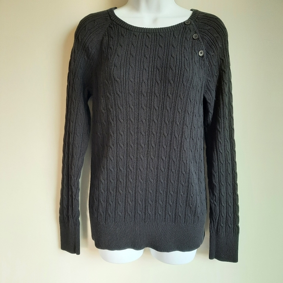 Sonoma Women's Black Cable Knit Sweater size Large